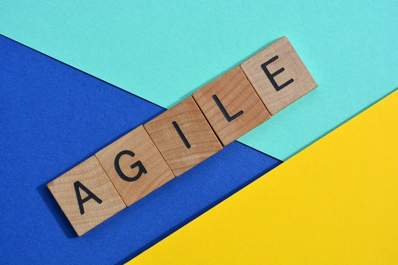 Titles with Agile spelt out on a colored background